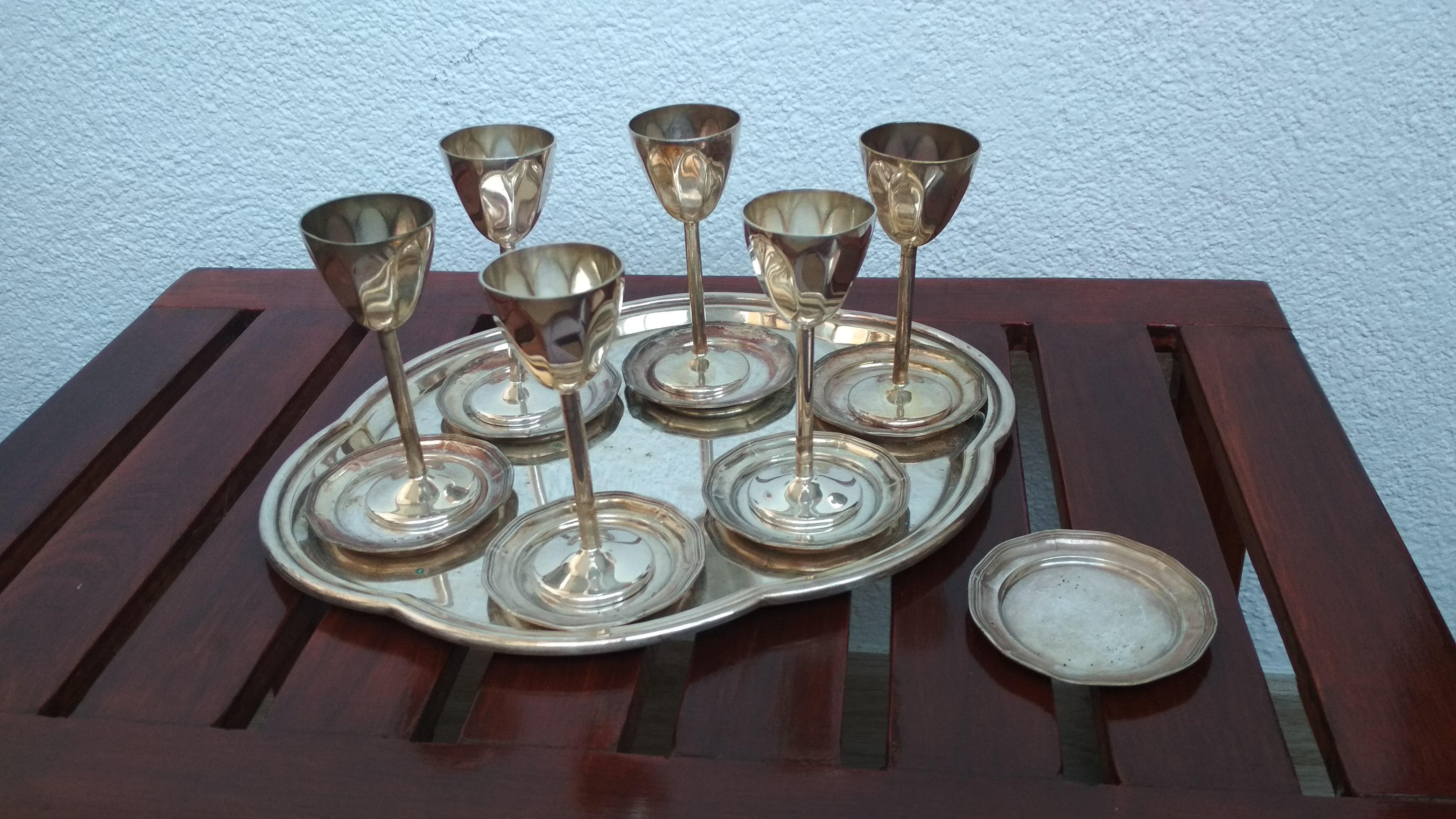 poháre retro starožitný set Alpaka